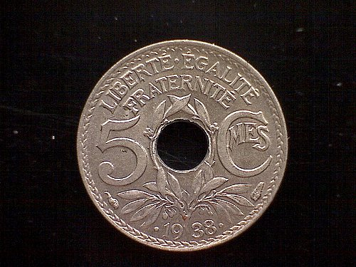 1938 FRANCE FIVE CENTIMES