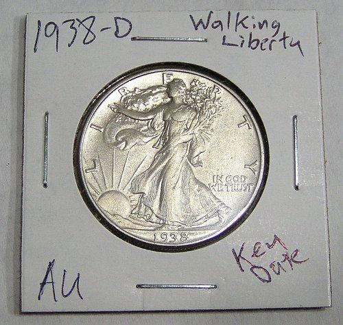 1938-D Walking Liberty Half Dollar AU - Nice Coin!