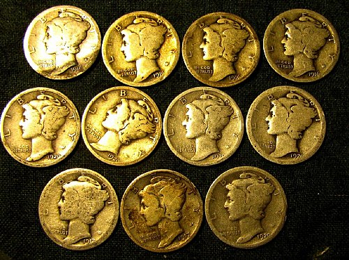 Mercury Dimes 4 x 1916; 17 P; 1 x 20 S; 4 x 20 P $$1.60 each//// A-77