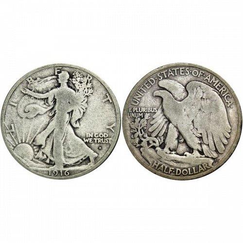 1916 D Walking Liberty Half Dollar - VG