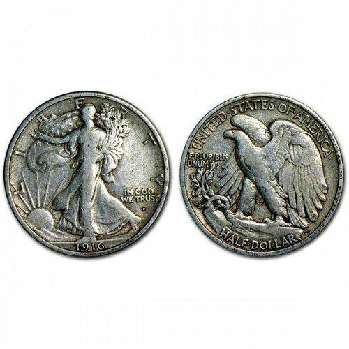 1916 D Walking Liberty Half Dollar - VF
