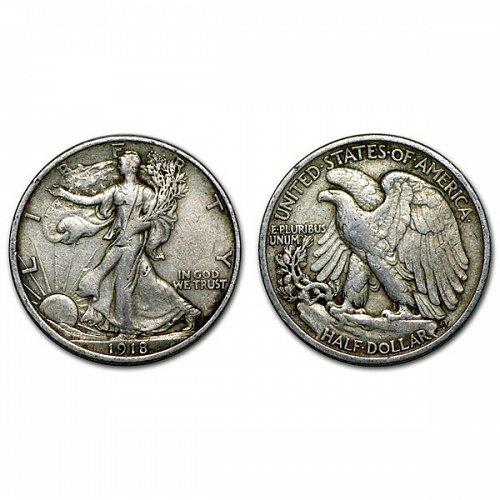 1918 D Walking Liberty Half Dollar - XF
