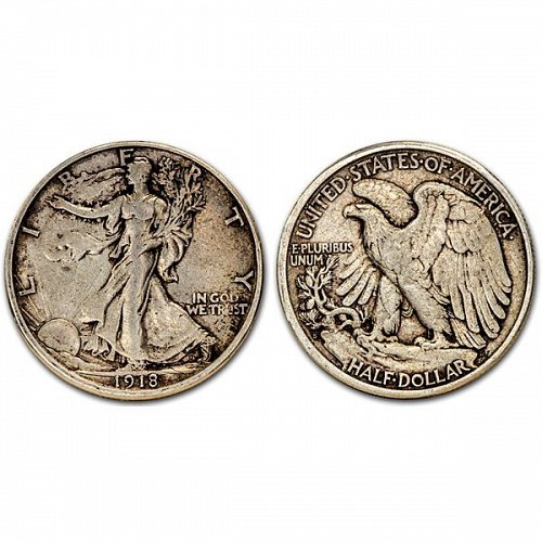1918 S Walking Liberty Half Dollar - XF