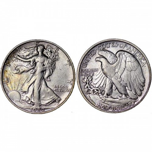 1920 Walking Liberty Half Dollar - AU