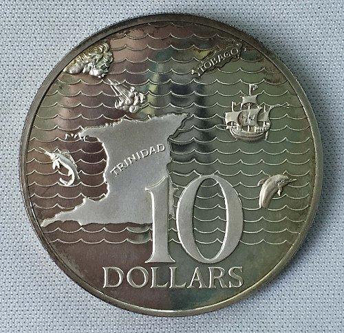 1973 Trinidad and Tobago 10 Dollars .925 Silver Coin - Proof