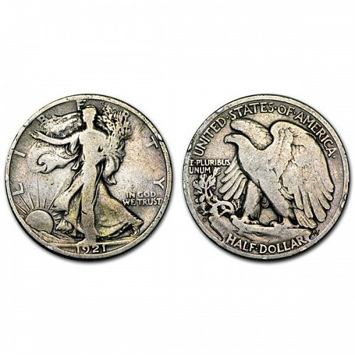 1921 D Walking Liberty Half Dollar - VG