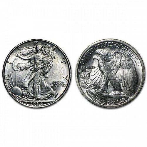 1936 S Walking Liberty Half Dollar - BU