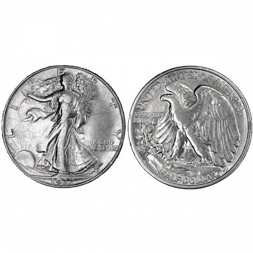 1937 D Walking Liberty Half Dollar - AU
