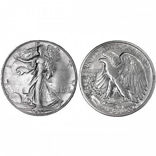 1937 D Walking Liberty Half Dollar - AU