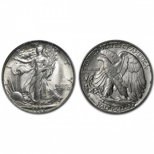 1937 D Walking Liberty Half Dollar - BU