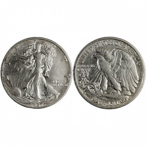 1937 S Walking Liberty Half Dollar - AU