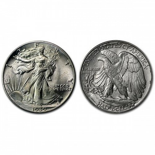 1939 D Walking Liberty Half Dollar - BU