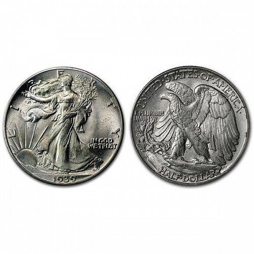 1939 D Walking Liberty Half Dollar - BU