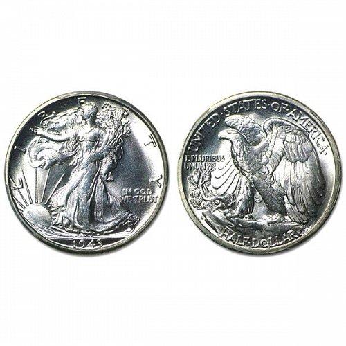 1943 S Walking Liberty Half Dollar - BU