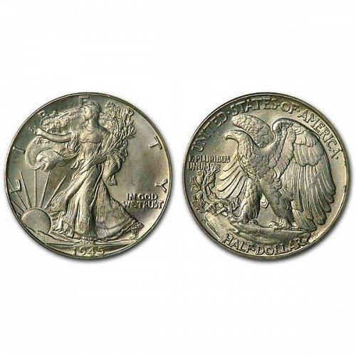 1945 D Walking Liberty Half Dollar - BU