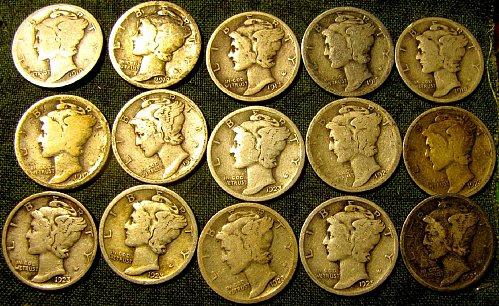 MercuryDIMES1917;17D;17S;2 x18P;19;20 D;4x23P;23 S;25P;2x29D tot15+ 3 FREE Dimes