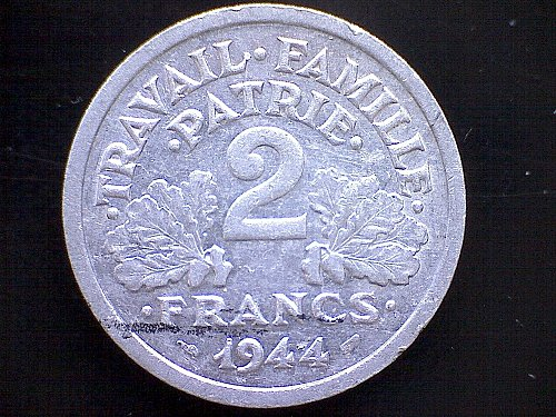 "1944 FRANCE TWO FRANC  ""VICHY FRANCE"""