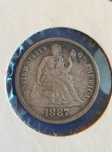 1887 Seated Liberty Dime (90% silver)