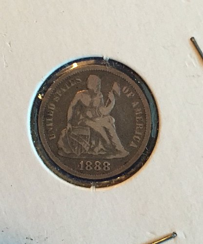 1888 Seated Liberty Dime (90% silver)