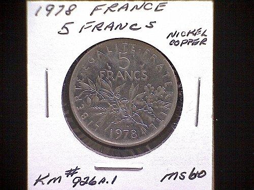 1978 FRANCE FIVE FRANC