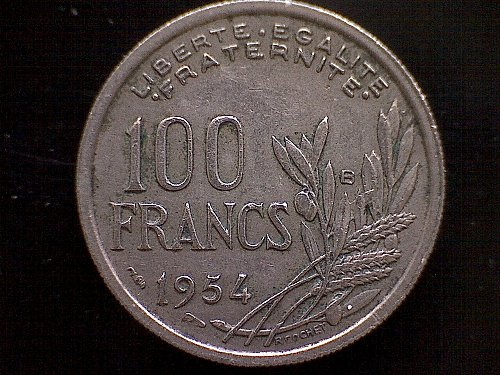 1954B FRANCE ONE HUNDRED FRANCS
