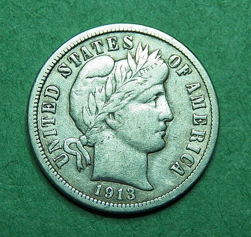 1913 P Barber Dime Very Fine Coin   d89