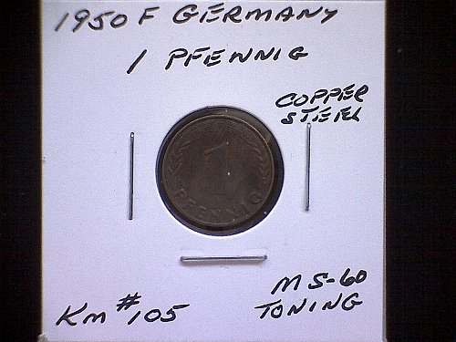 1950F GERMAN ONE PFENNIG