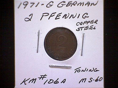 1971G GERMANY TWO PFENNIG