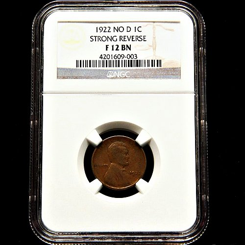 1922 no D Lincoln Cent, NGC F12 BN, Strong Reverse