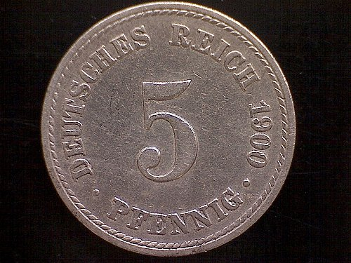 1900A GERMANY FIVE PFENNIG