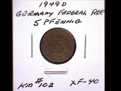 1949D GERMANY FIVE PFENNIG
