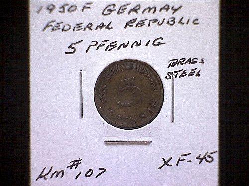 1950F GERMANY FIVE PFENNIG