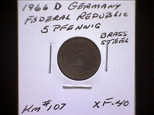 1966D GERMANY FIVE PFENNIG