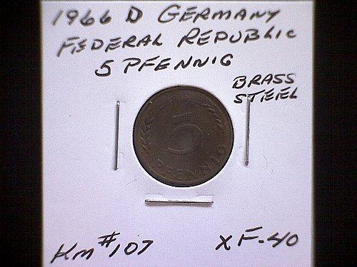 1966D GERMANY FIVE PFENNIG