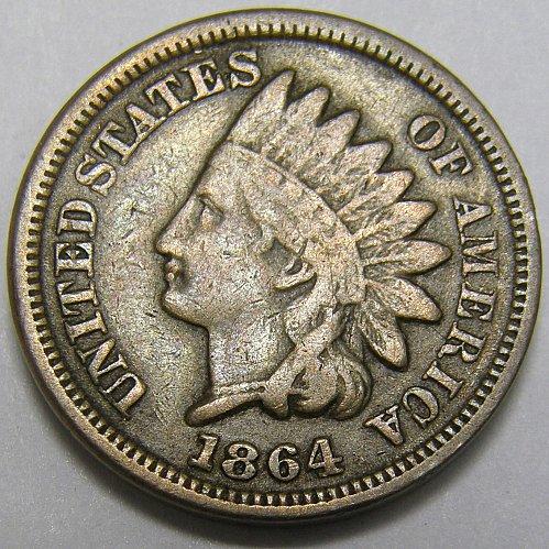 1864 P Indian Head Cent #11 CN  RPD  SNOW 1