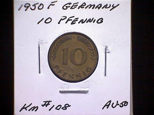1950F GERMANY TEN PFENNIG