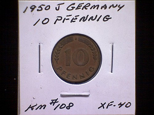 1950J GERMANY TEN PFENNIG