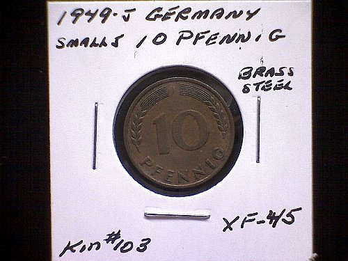 "1949J GERMANY TEN PFENNIG   ""SMALL"" 'J' "" VARIETY"