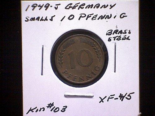 "1949J GERMANY TEN PFENNIG   ""SMALL"" 'J' "" VARIETY"