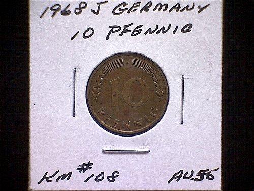 1968 GERMANY TEN PFENNIG