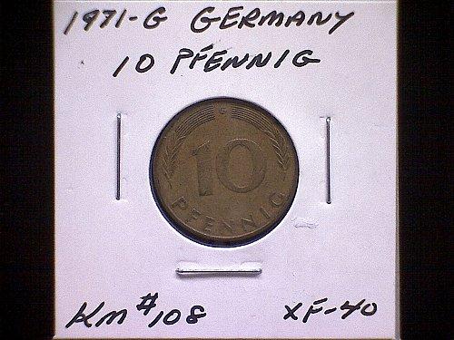 1971G GERMANY TEN PFENNIG