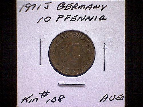 1971J GERMANY TEN PFENNIG