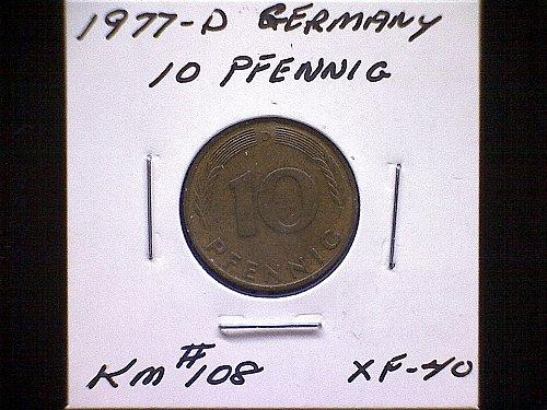 1977D GERMANY TEN PFENNIG