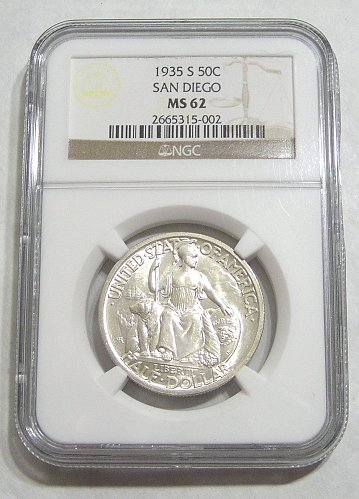 1935-S San Diego Commemorative Half Dollar - graded MS62 by NGC