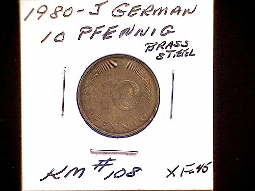 1980J GERMANY TEN PFENNIG