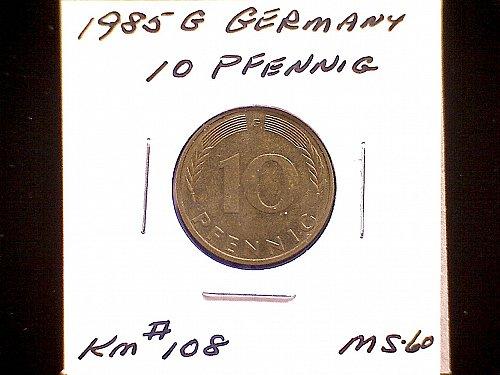1985G GERMANY TEN PFENNIG