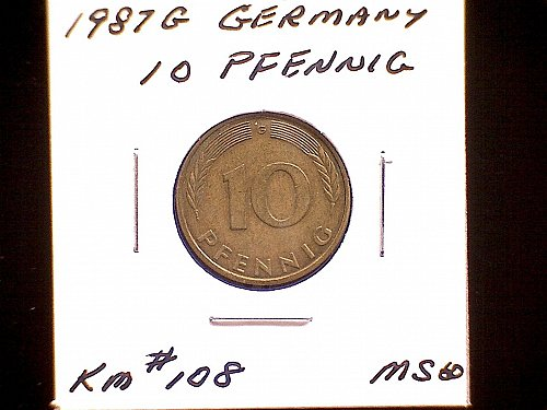 1987G GERMANY TEN PFENNIG