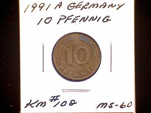 1991A GERMANY TEN PFENNIG