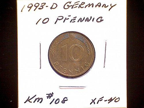 1993D GERMANY TEN PFENNIG