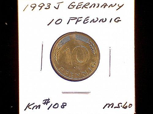 1993J GERMANY TEN PFENNIG